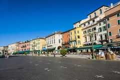 People enjoy walking at Piazza Bra in Verona Royalty Free Stock Photo