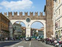 People enjoy walking at Piazza Bra in Verona Royalty Free Stock Photography