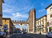 People enjoy walking at Piazza Bra in Verona Stock Image