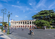 People enjoy walking at Piazza Bra in Verona Stock Photography