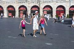 People enjoy walking at Piazza Bra in Verona Royalty Free Stock Photos