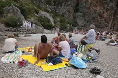 Acoustic choir singing concert at Torrent de Pareis in the spanish island of mallorca. People enjoy watching a live peformance by voices choir Capella Stock Images