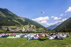 People enjoy windsurfing at lake Levico in Latsch Stock Photo