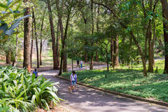 People enjoying the Aclimacao Park in Sao Paulo. Sao Paulo, Brazil - October 15 2016: People enjoying the Aclimacao Park. It was the first zoo in Sao Paulo and Stock Image