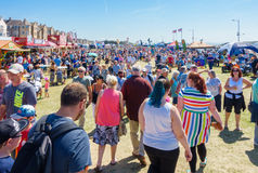 People enjoying the Airshow Weston-super-Mare 2017. Weston-super-Mare, United Kingdom -  June 17, 2017: People are  walking along the many stalls in Weston-super Royalty Free Stock Photo