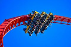 . People enjoying amazing inverted rollercoaster at Bush Gardens Tampa Bay stock photo