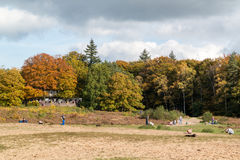 People enjoying autumn in Netherlands. DOORN, NETHERLANDS - OCT 25, 2015: People walking and relaxing in the woods on a sunny Sunday in autumn royalty free stock photos