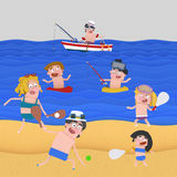 People enjoying at the beach. 