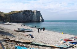 Etretat cliffs on a warm, sunny autumn day in France stock photography