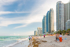 People enjoying the beach at Miami Royalty Free Stock Photos