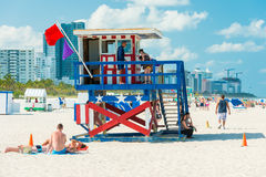 People enjoying the beach at South Beach, Miami Royalty Free Stock Image