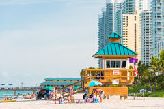 People enjoying the beach at South Beach, Miami Stock Image