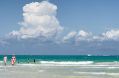 People enjoying the beach at south Miami Stock Photo