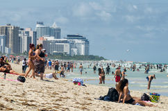 People enjoying the beach at south Miami Stock Photography