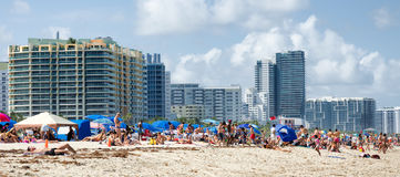 People enjoying the beach at south Miami Royalty Free Stock Photography