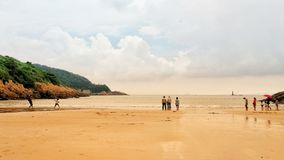 People are enjoying on beach in yuhuan,China stock photos