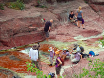 People enjoying the beautiful red canyon at waterton paek royalty free stock photo