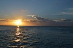 People Enjoying a Caribbean Sunset on a Little Boat, Split, Caye Caulker, Belize Royalty Free Stock Image