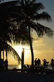 People Enjoying a Caribbean Sunset, Split, Caye Caulker, Belize. People Enjoying a Caribbean Sunset, Split on Caye Caulker, Belize Royalty Free Stock Photo