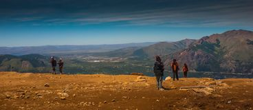 People enjoying Cerro Catedral. A beautiful view in the abyss of the Cerro Catedral. Argentina Stock Image