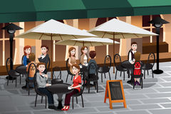 People enjoying coffee outside of a cafe. A vector illustration of people enjoying coffee outside of a cafe royalty free illustration