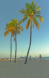 People enjoying Fort Lauderdale Beach in Fort Lauderdale, Florida, USA over the Labor Day weekend holiday in the US Royalty Free Stock Photo