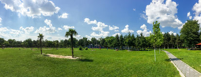 People Enjoying Hot Summer Weather And Getting Tanned In Tineretului Park Of Bucharest City Royalty Free Stock Image