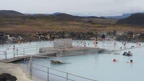 People enjoying Iceland Natural Warm poll Stock Photo