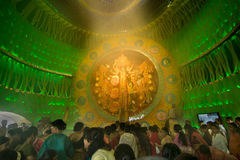 People enjoying inside Durga Puja Pandal (decorated temporary temple), festival, Kolkata Stock Photos
