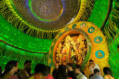 People enjoying inside Durga Puja Pandal, Durga Puja festival Stock Photography