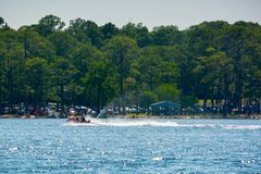 People Enjoying with Jet Boating at Sea in Florida. On Blur Background royalty free stock photography