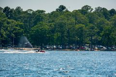 People Enjoying with Jet Boating at Sea in Florida. On Blur Background royalty free stock images