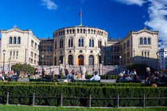 People enjoying life near Stortinget close up Stock Photography