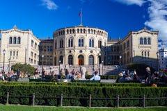 People enjoying life near Stortinget close up Stock Photography