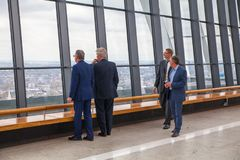 People enjoying London view from the Sky Garden of Walkie-Talkie building. London Royalty Free Stock Images