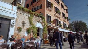 People Enjoying A meal at the Terrace near Grand Canal in Venice stock video