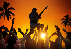 People Enjoying Music Festival Outdoors Royalty Free Stock Image