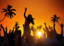 People Enjoying Music Festival Outdoors Stock Photography