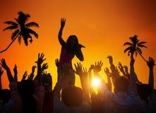 People Enjoying Music Festival Outdoors stock photography