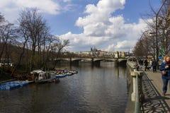 People enjoying a nice spring day in Prague Stock Image