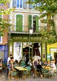 Traditional Street Cafe, Provence, France Royalty Free Stock Photos