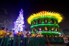 People enjoying outside Durga Puja Pandal, Hindu religious festival Stock Images