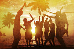 People Enjoying Party by the Beach Stock Images