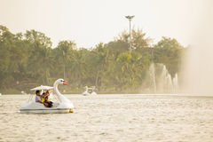People are enjoying with the pedal boat in a lake Royalty Free Stock Photography