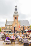 People enjoying the restaurants in the Waagplein square Stock Photo