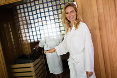 People enjoying sauna benefits Royalty Free Stock Image