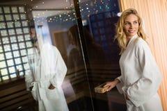 People enjoying sauna benefits Royalty Free Stock Photo