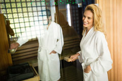 People enjoying sauna benefits Stock Images