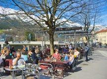 People enjoying a spring day in Innsbruck, Austria Stock Photos