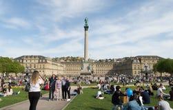 People enjoying spring in Stuttgart stock image